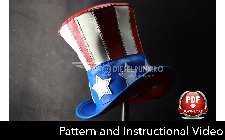 Top Hat PATTERN - DIY Pattern -Pdf Download - Uncle Sam Hat - Video Tutorial 94189b5ebf2