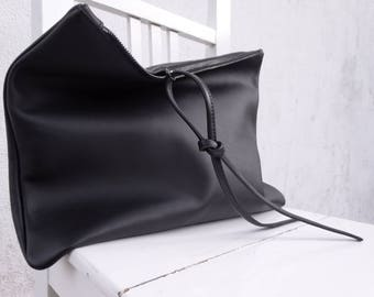 ae3fc14a770 Oversize Black Leather Clutch/Big Leather Foldover Clutch/Extra Large  Leather Pouch/Zipper Clutch/Big Leather Case