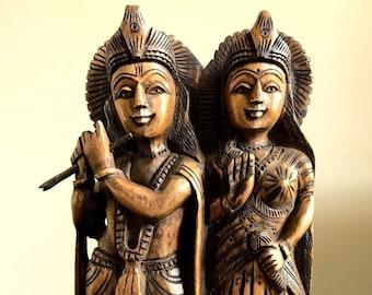 "Radha Krishna Statue 8"" wood hand carved statue, Hindu deity god, meditation yoga gift home decor, Hand Carved krishna figurine sculpture"