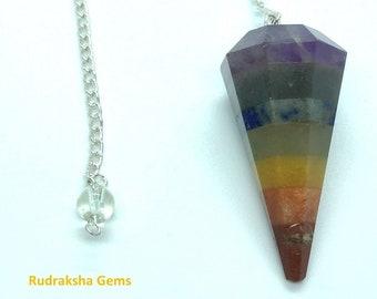 7 Chakra Bonded Natural Gemstone Point Pendulum Dowsing Crystal Dowser Scrying Reiki Chakra Healing, Healing pendulum, Natural crystals