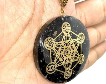 Black Tourmaline Reiki Energy Charged Orgone Reiki Metatron chakra Pendant, Orgone pendant, EMF protection, energy purifier, Orgone Necklace