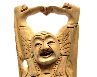 Beautiful hand carved Laughing Buddha Statue, 5 inch Wooden Buddha Statuette Buddhism Home Desk Decor, Zen Feng Shui Buddah Figurine Idol