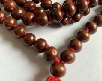Classic 108 Knotted Meditation Mala | 8mm Indian Rosewood with Red / Cotton String Tassel | Elegant Natural Design | Yoga Necklace