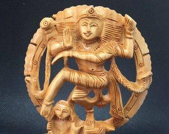 "Shiva Statue, Wooden Hand carved 5"" Beautiful Natraj Dancing Natraja Hindu God Lord Shiva Wood Statue Natrajan Om, Dancing Shiva sculpture"
