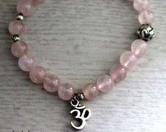 ROSE QUARTZ healing bracelet, Self Love bracelet, healing crystal bracelet, mala bracelet, gift for her, crystal healing, yoga bracelet