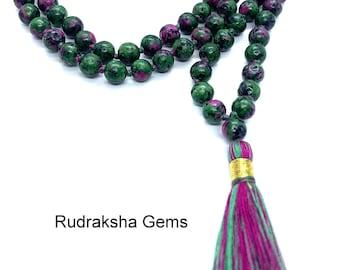 Ruby Zoisite Necklace, Tassel mala, Prayer Necklace, 108 Mala Beads, Ruby Zoisite 6mm Mala, Statement Necklace, Yoga Gifts, Spiritual Mala