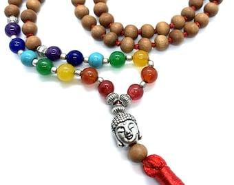 Rosewood Premium Tassel Mala Chakra Gem Stones , Rose wood Japa Mala 108 + 1 beads Meditation Prayer Rosary Prayer Yoga Bead Reiki Necklace