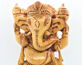 GANESHA Statue - Ganesh wooden idol - GANPATI wooden hand carved 6 inches statue - Hindu Elephant God GANESH - good luck success prosperity