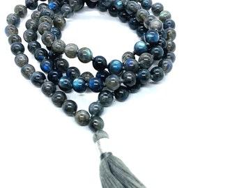 Labradorite Mala 108 knotted beads Jap Mala Beads 108, Mala Bead Necklace, Mala Necklace, Meditation Beads, Japa Mala, Buddhist Prayer Beads