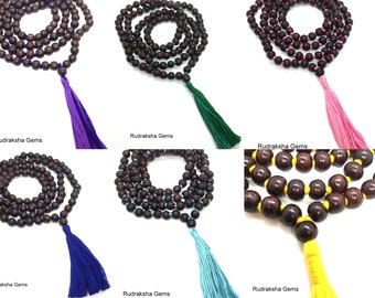 Red Rosewood Handmade Rosary Mala 108 Beads - Beautiful Tassel Mala - Colored Long Tassel & knots - 8mm Beads Hindu Yoga Mediation japa mala