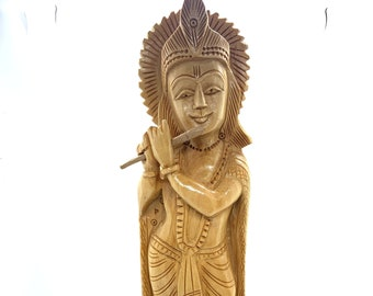 "Lord Krishna Hand Carved Statue 8"" wood decor statue, Hindu deity god, meditation yoga gift home decor, krishna figurine sculpture, KRISHNA"