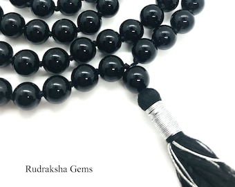 Black Onyx Stone Of Protection Mala 108 + 1 Beads Helps Releasing Negativity Yoga Raiki Meditation