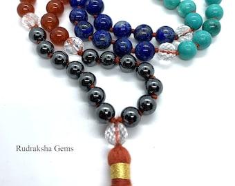 7 CHAKRA Mala Original Gem Stones Premium Japa Mala 108 + 1 beads Meditation Rosary Prayer Yoga Bead Reiki Necklace premium Seven RAINBOW OM