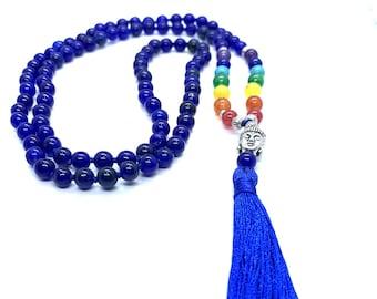 Lapis Lazuli 7 CHAKRA  Premium Tassel Mala Gem Stones Japa Mala 108 + 1 beads Meditation Rosary Prayer Yoga Bead Reiki Necklace Lapis Lazuli