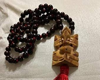 Red Rosewood Handmade Rosary Mala 108 Beads + Ganesha Wooden Guru Pendant, Hand made Necklace, 8mm Bead Size Hindu Yoga Mediation japa mala