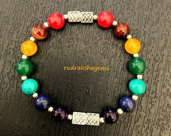 7 Chakra Bracelet, Chakras, NATURAL healing Crystals, Mandala bracelet, Yoga bracelet, Meditation wrist band, with meaning Leaflet, Genuine