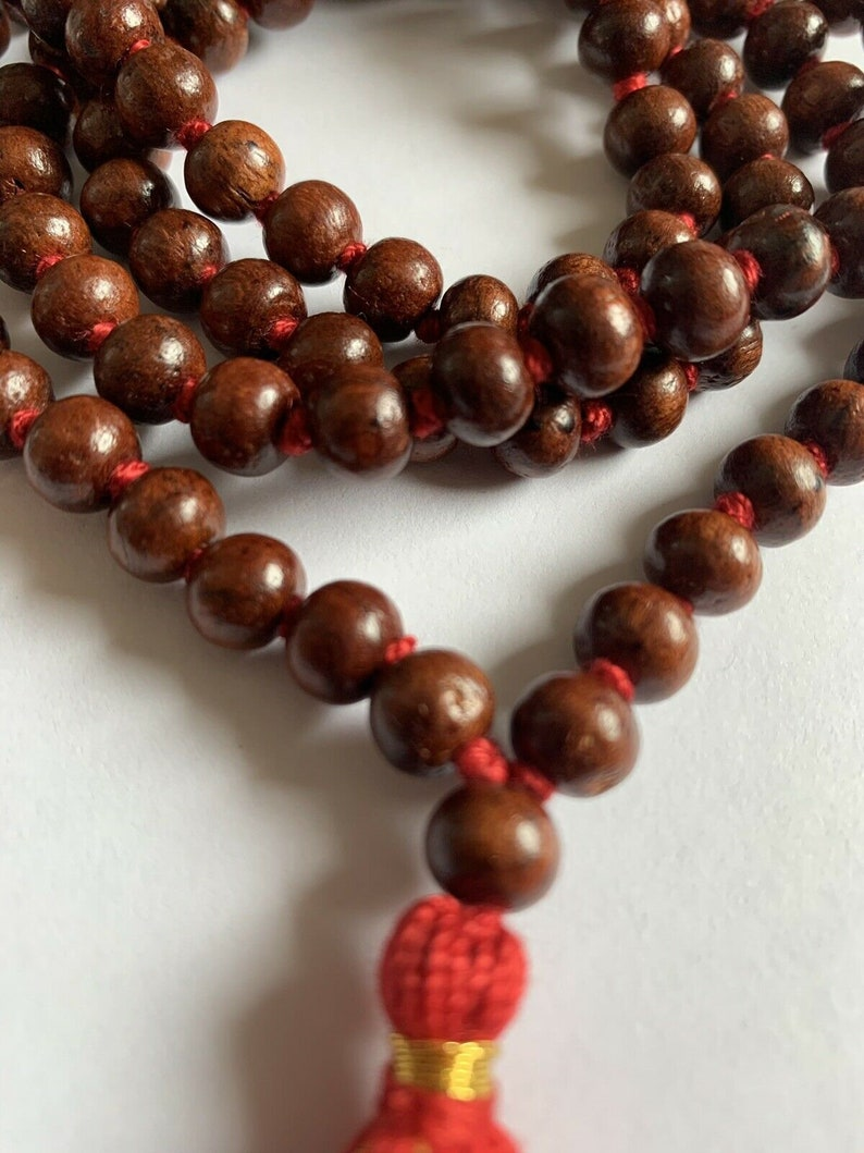 Classic 108 Knotted Meditation Mala  8mm Indian Rosewood with image 0