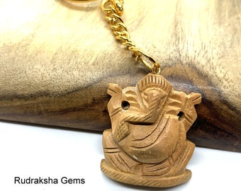 Ganesha Key Ring Wooden Hand made Ganesh Elephant Keychain Elephant Keyring Initial Keychain, Yoga Keychain, Prosperity & Fortune, Hindu God