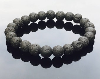 lava stone bracelet - lava rock gemstone bracelet - diffuser bracelet for aroma therapy oils- unisex beaded bracelet - porus beads