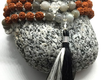 Labradorite japa & Rudraksha mala, Tassel Mala, Hand knotted Necklace, Meditation mala, 108 mala necklace, Prayer beads, Dalai Mala Yoga
