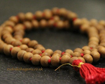 Sandalwood mala 6mm 8 mm 108 rosary, sandalwood japa mala necklace, mens necklace, wood bead, hindu meditation buddhist tibetan prayer beads