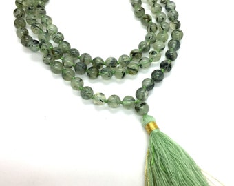 Prehnite Mala beads - Healing the Healer - Connection to Higher self - Hand knotted Full 108 Beads Mala - 8mm Beads Mala - Prayer Beads Yoga