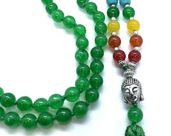 Green Jade 7 CHAKRA  Premium Tassel Mala Gem Stones ,Japa Mala 108 + 1 beads Meditation Rosary Prayer Yoga Bead Reiki Necklace, Green Jade