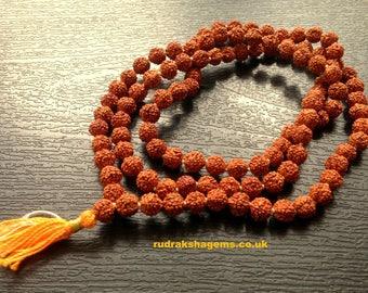 Rudraksha Om Rudraksh Japa Mala Rosary 108 +1 Bead Yoga Hindu PRAYER MEDITATION Raiki genuine 5 Mukhi Faces Indonesian Beads Energised