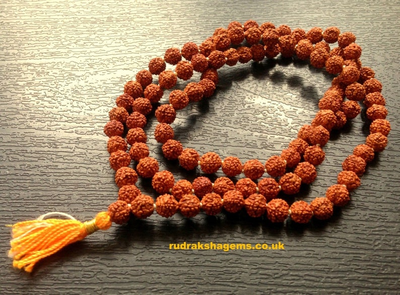 Rudraksha Om Rudraksh Japa Mala Rosary 108 1 Bead Yoga Hindu image 0