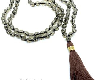 Smokey Quartz Mala Beads Necklace, Knotted Mala 6mm Beads, Natural Semi-Precious Crystals, 108 Prayer Mala Beads, Root Chakra Healing