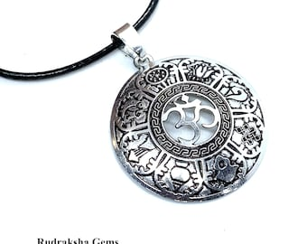AUM 8 LUCKY SYMBOL Zen Pendant, Om Necklace Yoga Jewellery Spiritual Meditation Gifts Om Choker mens unisex Tibetan Style Mindfulness Gifts