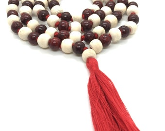Tulsi Rosewood Japa Mala - Rosewood Tulsi Beads Mala - Sandalwood necklace- Tulsi necklace - Hindu Buddhist Japa Long Tassel Mala 108 Beads