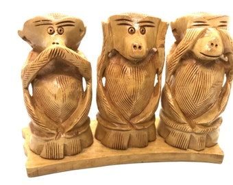 Three wise monkeys wooden statue - Hand made - three monkeys that hear no evil see no evil speak no evil, Hand carved gift for him her Rare