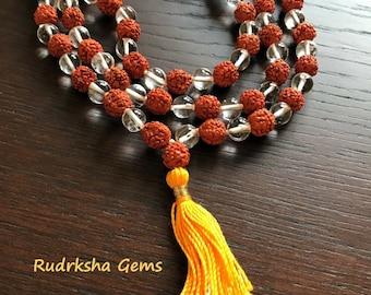 Rudraksha & Crystal Mala - rudraksha Snow Quartz Mala - Combination Rudraksha Crystal Mala - 108 Beads Mala - Tassel Mala - Prayer Beads