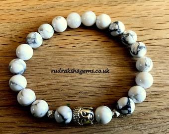 White Howlite BUDDHA Bracelet - buddhist bracelet - white gemstone bracelet- Unisex mala beads zen bracelet gift for him her yoga meditation