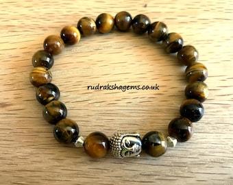 Tiger Eye BUDDHA bracelet - genuine gemstone crystal premium bracelet - mens womens bracelet - 8mm high quality beads bracelet -gift him her