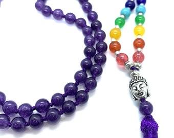 Amethyst 7 CHAKRA  Premium Tassel Mala Gem Stones ,Japa Mala 108 + 1 beads Meditation Rosary Prayer Yoga Bead Reiki Necklace, Amethyst Gift