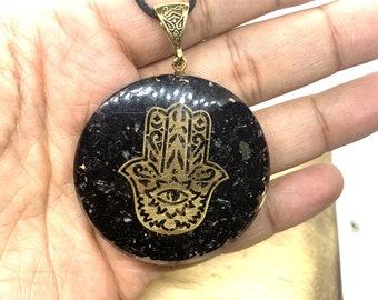 Black Tourmaline Reiki Energy Charged Orgone HAMZA Pendant, Orgone pyramid, EMF protection, orgone energy purifier, Orgone Necklace