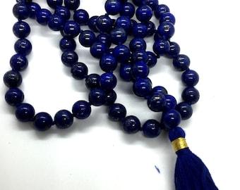 7 mm Natural Blue Lapis Lazuli Mala beads, 108 Buddhist Mala, Enhance Awareness Insight & Intellect, Third Eye Chakra, Communication