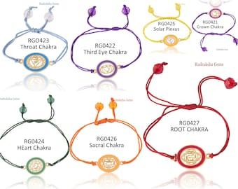 7 CHAKRA BRACELET Yoga Reiki Healing Symbols Golden metal corded Rakhi - Crown, Third Eye, Throat, Heart, Solar Plexus, Sacral, Root Chakra