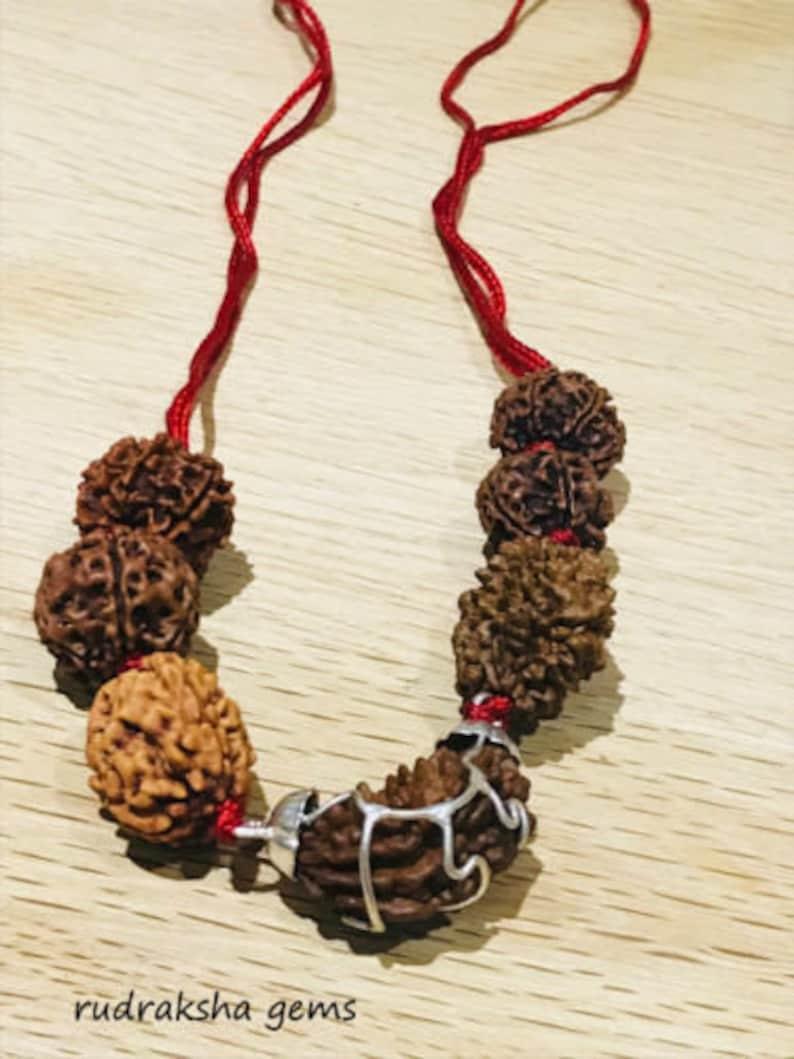 Rudraksh Rudraksha 1 2 3 4 5 6 7 Mukhi Beads Mala Necklace Wrist band bracelet Rudraksha Mala Neecklace Genuine Beads in red cord OM