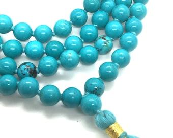Turquoise Mala 108 Beads Mala Beads - Mala Necklace - 108 Mala - Bright Mala - meditation beads -gemstone mala - prayer yoga beads japa mala