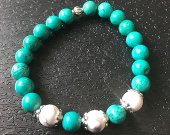 POSITIVITY WISDOM Turquoise Howlite Chakra Healing Bracelet Spiritual Gift Yoga Raiki