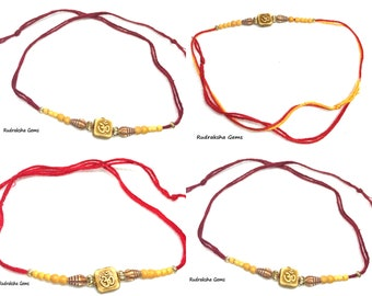 Multi colour OM AUM Rakhi thread - Brother sister indian hindu festival - raksha bandhan rakhi thread - multi coloured rakhi- Rakhadi Rakhri