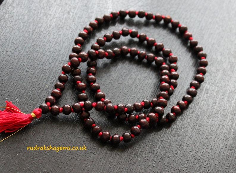 Red sandalwood japa Mala Dark Red chandan japa mala hindu image 0