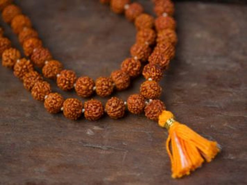 Rudraksha mala 8 mm knotted 108  1 prayer beads Long Orange image 0