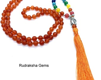 Carnelian 7 CHAKRA  Premium Tassel Mala Gem Stones ,Japa Mala 108 + 1 beads Meditation Rosary Prayer Yoga Bead Reiki Necklace Carnelian Mala