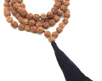 Lord Shiva Rudraksha Japa Mala 108 beads traditional style hand knotted mala purified & blessed - Long Black Tassel /  Knots - Tassel Mala