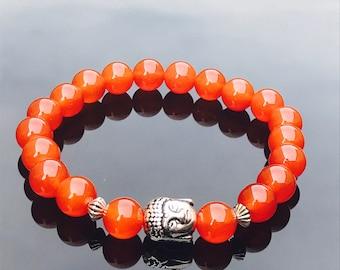 Carnelian Buddha Elasticated Bracelet - amber crystal gemstone bracelet - power bracelet -gift for him her buddhist bracelet yoga meditation