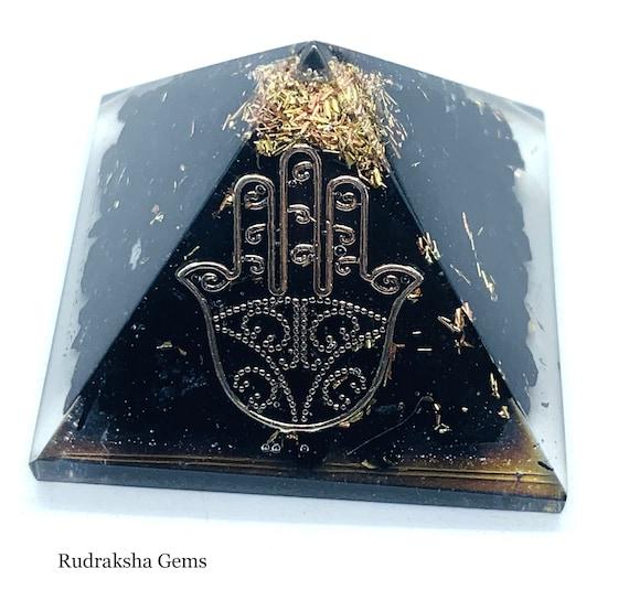UK Reiki Energy Charged Tourmaline Orgone Pyramid Powerful Energy Generator Gold